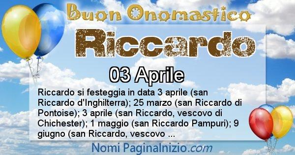 Riccardo - Onomastico del nome Riccardo