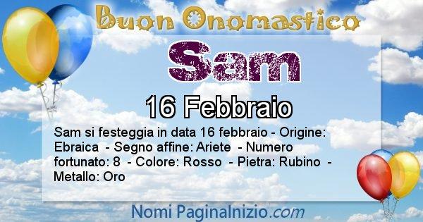 Sam - Onomastico del nome Sam
