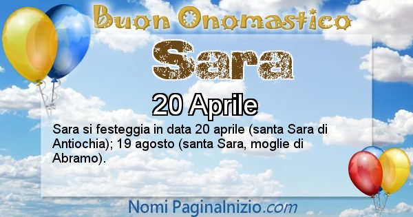 Sara - Onomastico del nome Sara