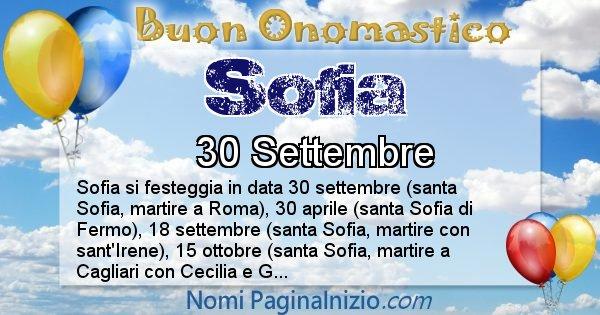 Sofia - Onomastico del nome Sofia