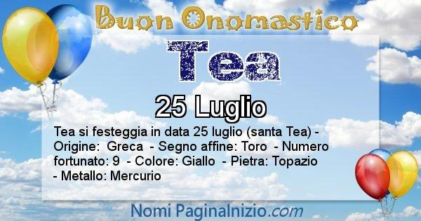Tea - Onomastico del nome Tea