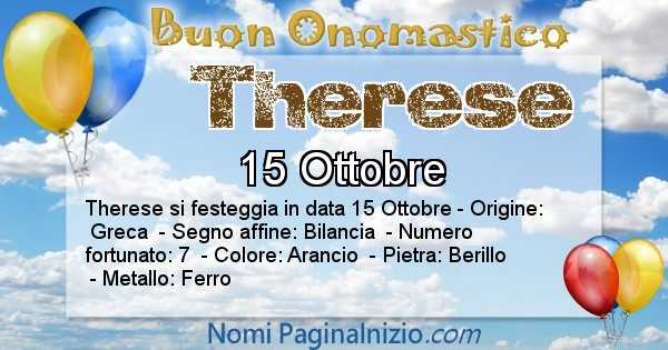 Therese - Onomastico del nome Therese