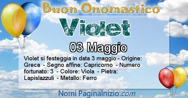 Violet - Onomastico del nome Violet