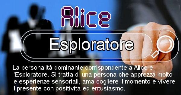 Alice - Personalità associata al Nome Alice