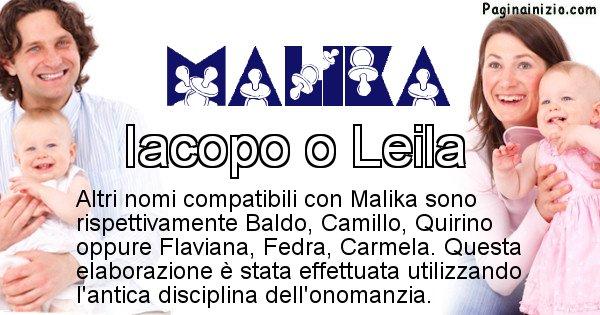 Malika - Nome ideale per il figlio di Malika