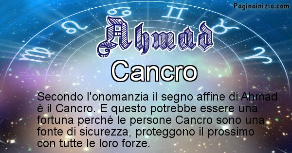 Ahmad - Segno zodiacale affine al nome Ahmad