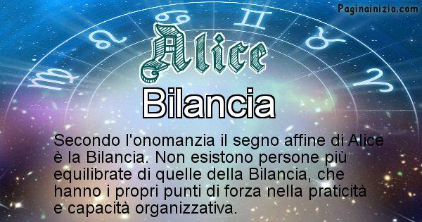 Alice - Segno zodiacale affine al nome Alice