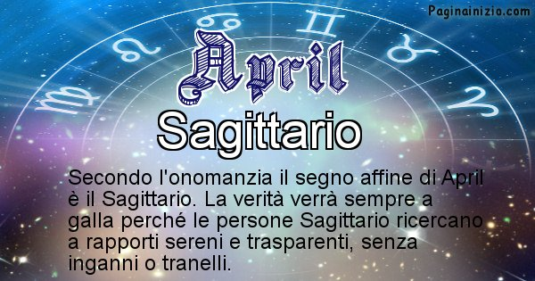 April - Segno zodiacale affine al nome April