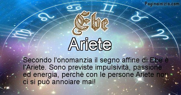 Ebe - Segno zodiacale affine al nome Ebe