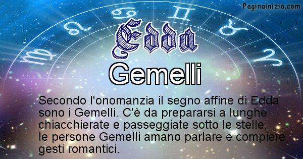 Edda - Segno zodiacale affine al nome Edda