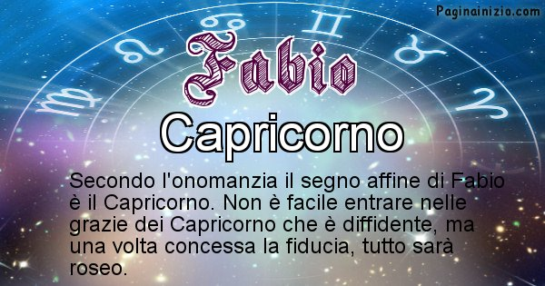 Fabio - Segno zodiacale affine al nome Fabio