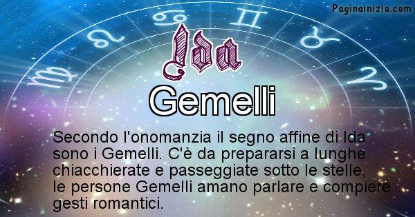 Ida - Segno zodiacale affine al nome Ida