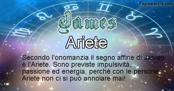James - Segno zodiacale affine al nome James