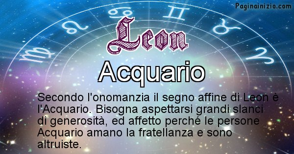 Leon - Segno zodiacale affine al nome Leon