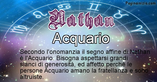 Nathan - Segno zodiacale affine al nome Nathan