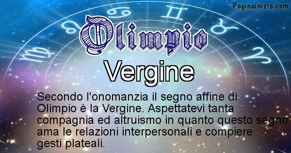 Olimpio - Segno zodiacale affine al nome Olimpio