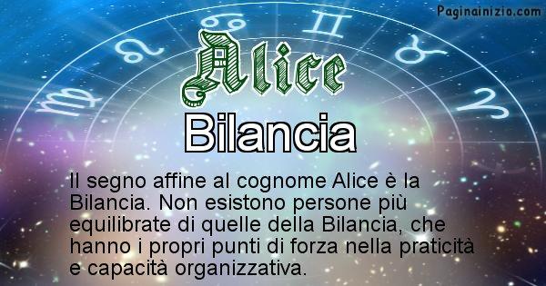 Alice - Scopri il segno zodiacale affine al cognome Alice