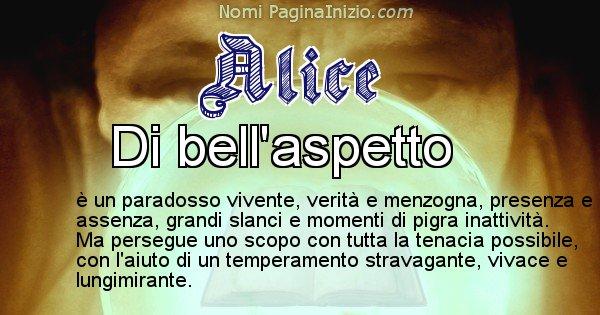Alice - Significato reale del nome Alice