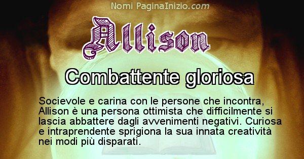 Allison - Significato reale del nome Allison
