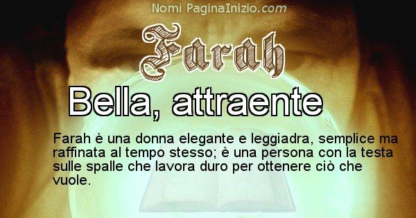 Farah - Significato reale del nome Farah