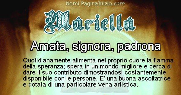 Mariella - Significato reale del nome Mariella