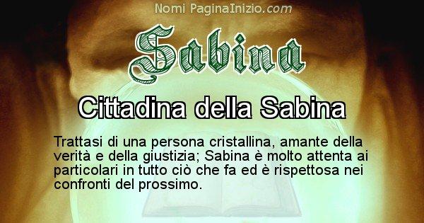 Sabina - Significato reale del nome Sabina