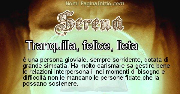 Serena - Significato reale del nome Serena