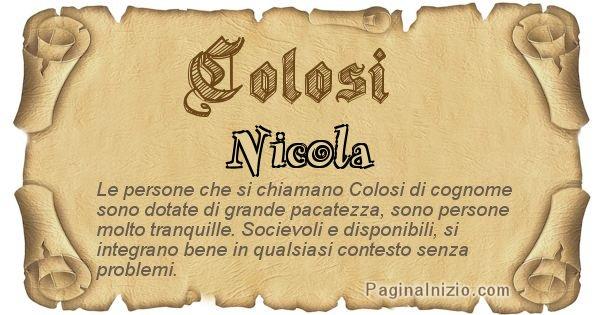 Colosi - Ottieni il significato del tuo Cognome Colosi