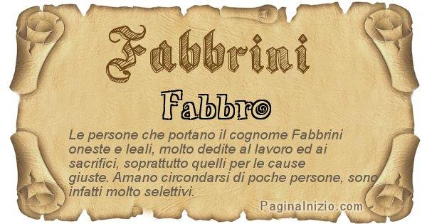 Fabbrini - Ottieni il significato del tuo Cognome Fabbrini