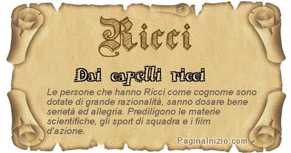 Ricci - Ottieni il significato del tuo Cognome Ricci