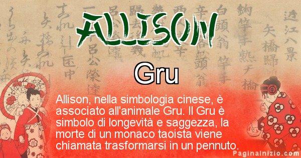 Allison - Significato del nome in Cinese Allison