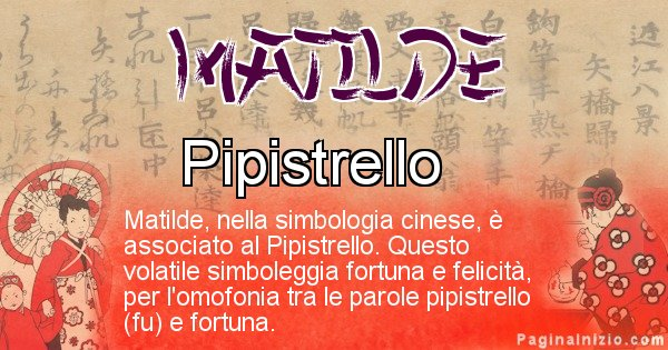 Matilde - Significato del nome in Cinese Matilde