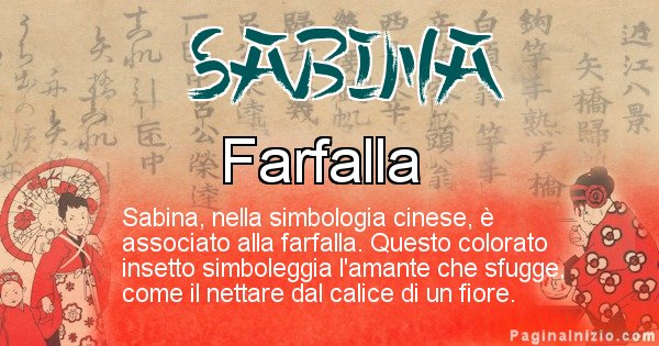 Sabina - Significato del nome in Cinese Sabina