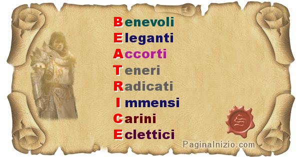 Beatrice - Significato letterale Cognome Beatrice