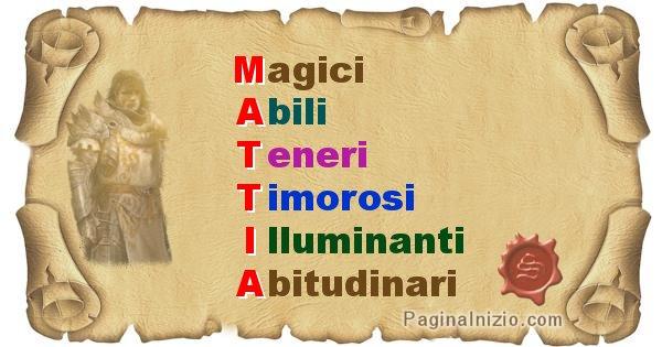 Mattia - Significato letterale Cognome Mattia