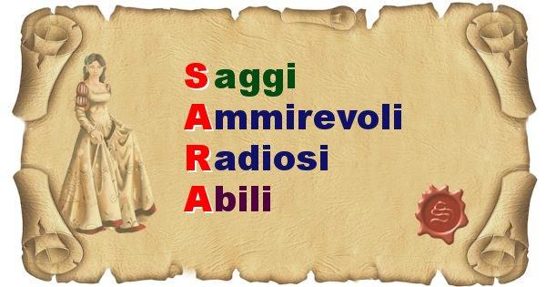 Sara - Significato letterale Cognome Sara