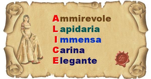 Alice - Significato letterale del nome Alice