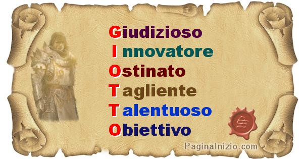 Giotto - Significato letterale del nome Giotto