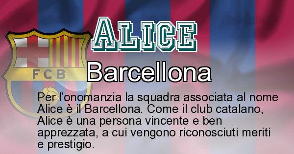 Alice - Squadra associata al nome Alice