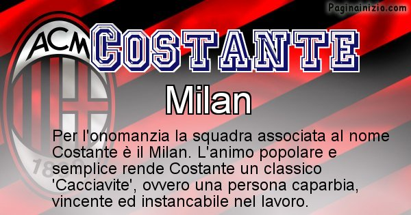 Costante - Squadra associata al nome Costante