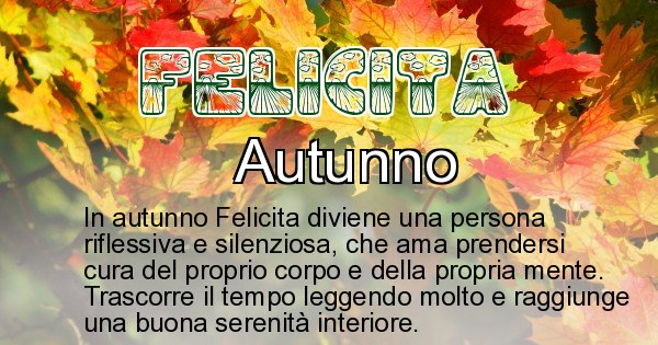 Felicita - Stagione associata al nome Felicita
