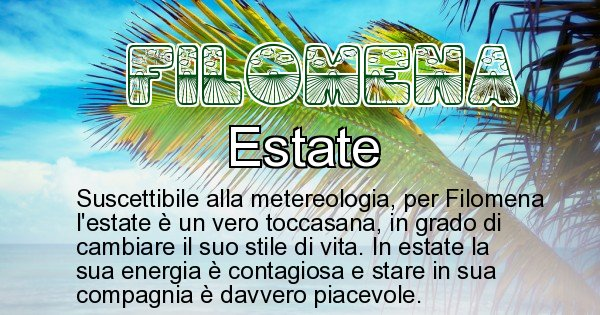 Filomena - Stagione associata al nome Filomena