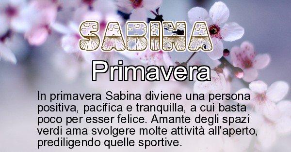 Sabina - Stagione associata al nome Sabina