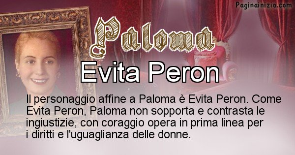 Paloma - Personaggio storico associato Paloma
