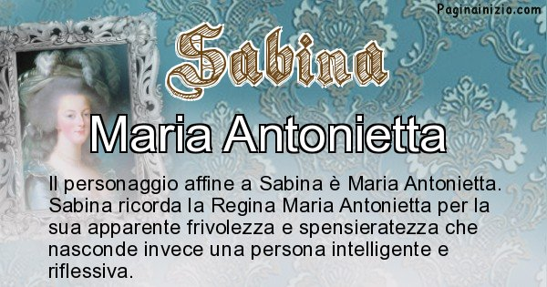 Sabina - Personaggio storico associato Sabina