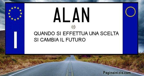 Alan - Targa personalizzata del Nome Alan