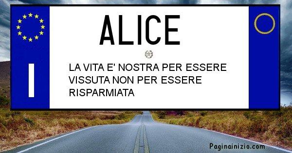 Alice - Targa personalizzata del Nome Alice