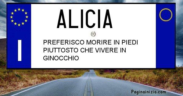 Alicia - Targa personalizzata del Nome Alicia
