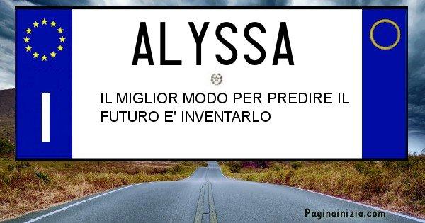 Alyssa - Targa personalizzata del Nome Alyssa
