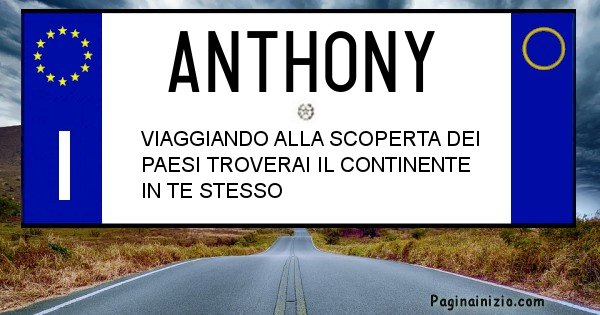 Anthony - Targa personalizzata del Nome Anthony